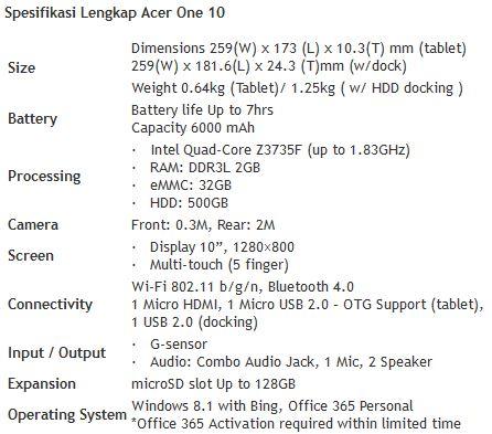 Spesifikasi Acer One 10