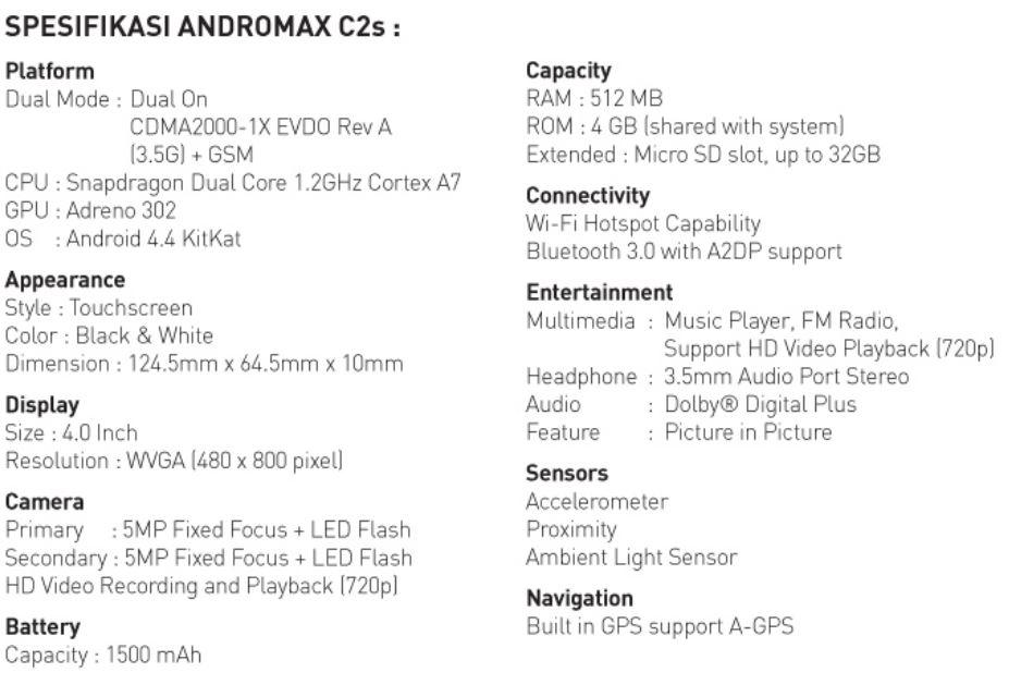 Spesifikasi Andromax C2s