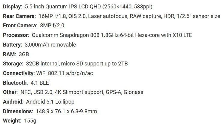 Spesifikasi LG G4