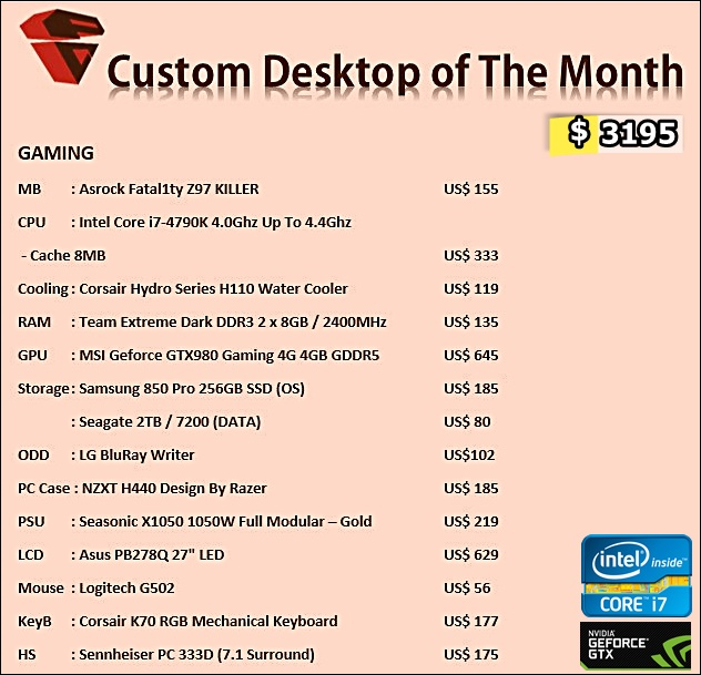 Desktop PC Custom Gaming April 2015