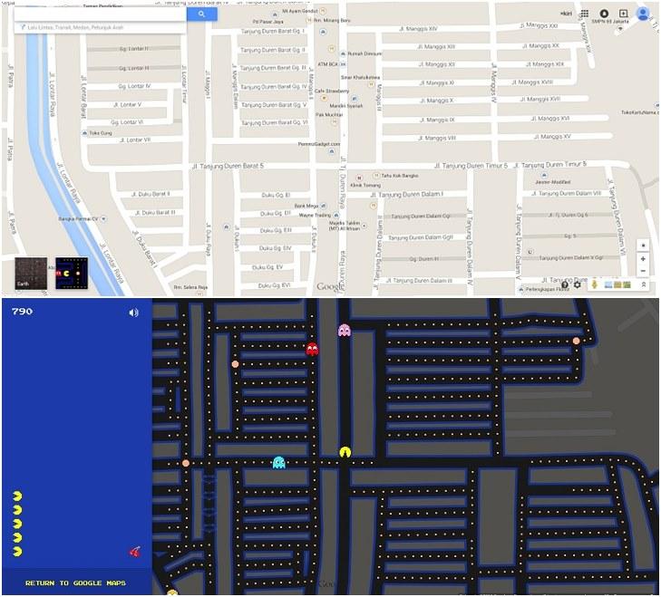 Pac Man di Google Map