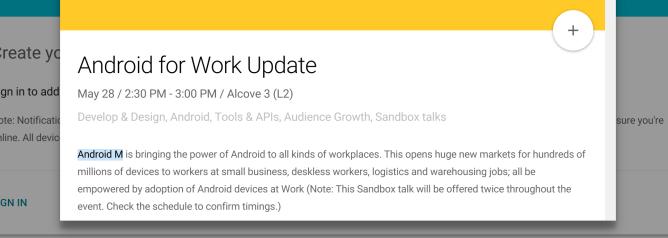 IO Description Android M
