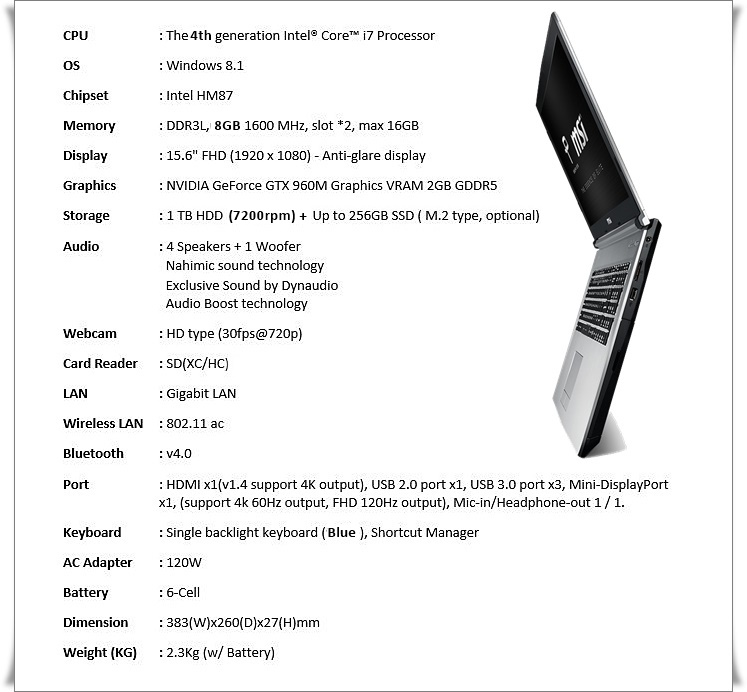 MSI PE60-2QE specification