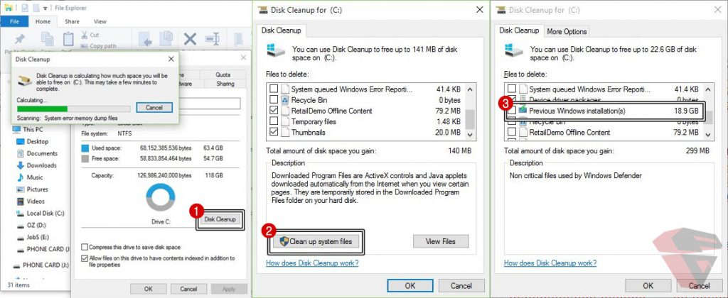 Cara dan proses menghapus folder Windows.old dengan disk cleanup