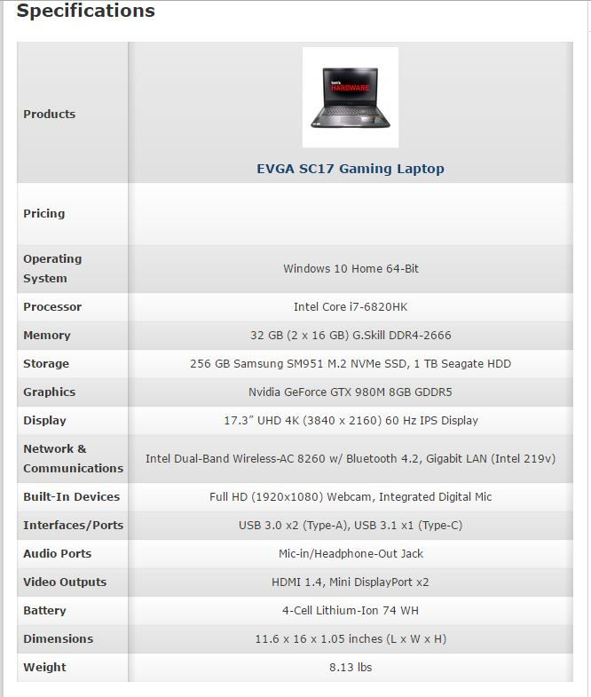 EVGA SC17 Spec