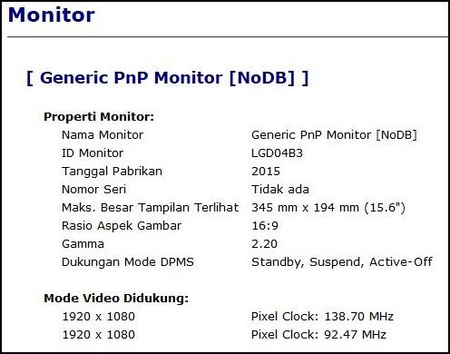 spesifikasi LCD HP Pavilion Gaming