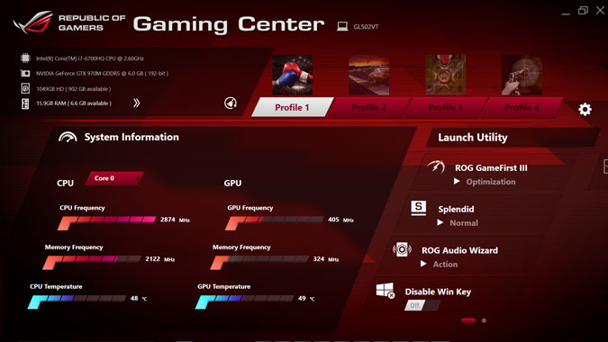 ROG Gaming Center at Asus ROG STRIX GL502VT