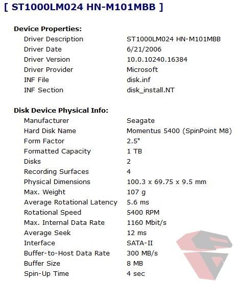 Asus X550VX Storage info