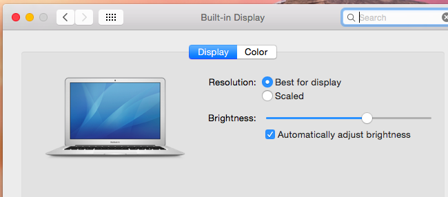 Scaling display on MAC computer