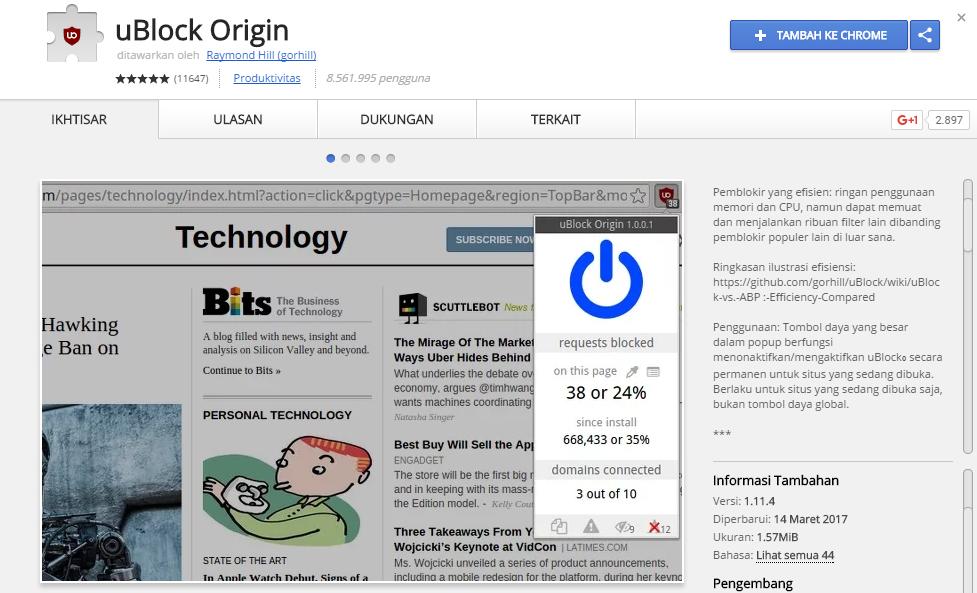 uBlock Origin eks