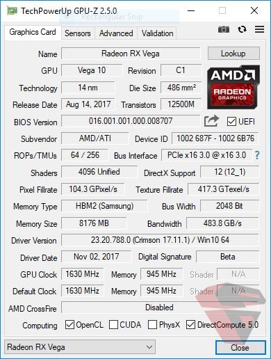 AMD Radeon RX VEGA 64 Specification