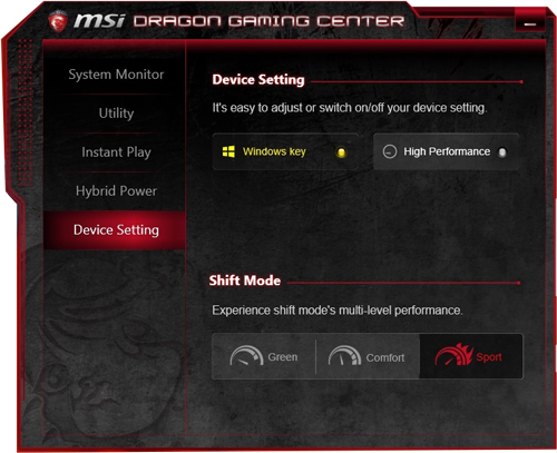 MSI new Shift Preset Performance