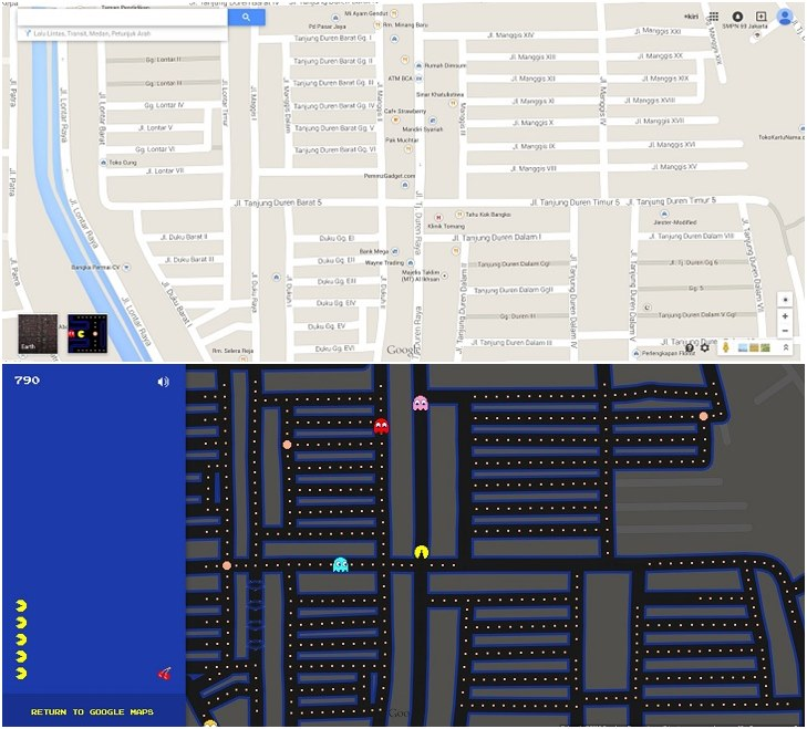 Pac Man di Google Map