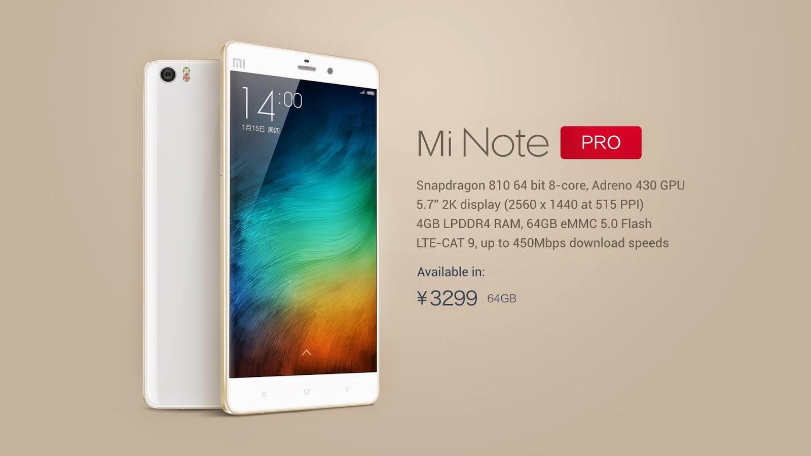 Xiaomi Mi Note Pro Spesifikasi