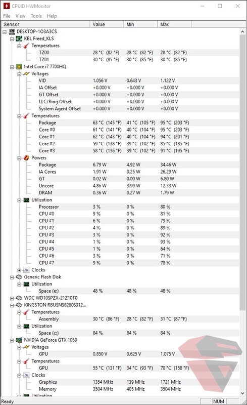 Benchmark Acer Nitro 5 AN515-51 -temperature